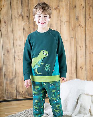 Frugi Summit Sweatshirt, Fir Tree/Dino - 100% organic cotton Jumpers