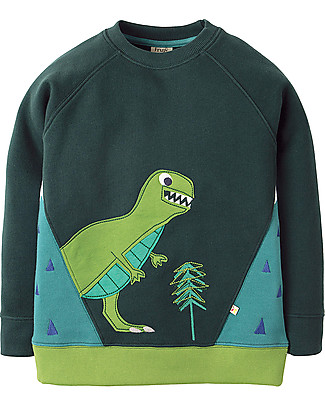 Frugi Summit Sweatshirt, Fir Tree/Dino - 100% organic cotton Jumpers