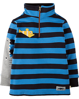 Frugi Super Half Zip Jumper, Sail Blue Bold Stripe/Shark - 100% organic cotton Sweatshirts