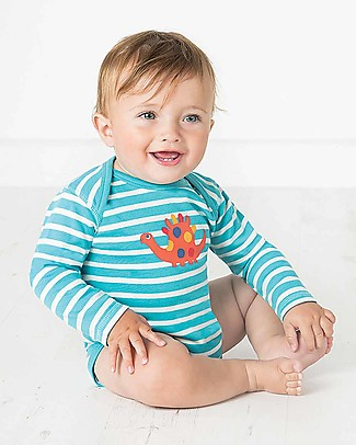 Frugi Super Special 3-Pack Bodysuits, Dino - 100% organic cotton Long Sleeves Bodies