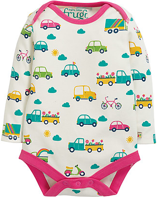 Frugi Super Special 3-Pack Bodysuits, Transport - 100% organic cotton Long Sleeves Bodies