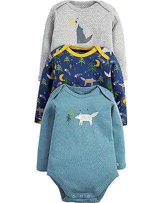 Frugi Super Special 3-Pack Bodysuits, Wolf - 100% organic cotton Long Sleeves Bodies
