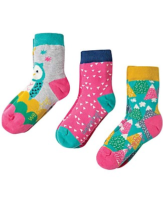 Frugi Susie 3 Pack, Barn Owl Multipack - Elasticated cotton Socks