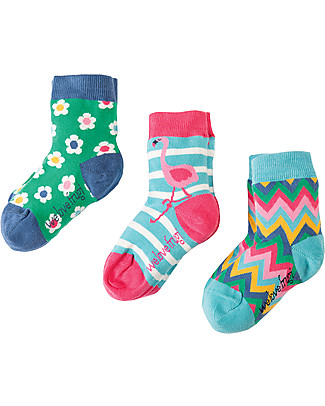Frugi Susie Socks 3 Pack, Flamingo Multipack - Elasticated cotton Socks