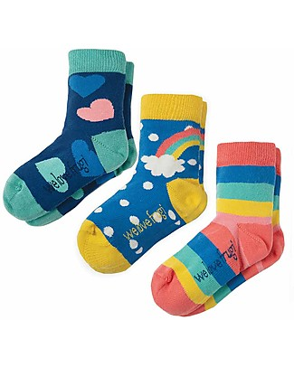 Frugi Susie Socks 3 Pack, Rainbow Multipack - Elasticated Organic Cotton Socks