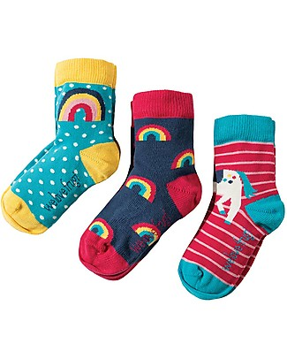 Frugi Susie Socks 3 Pack, Unicorn Multipack - Elasticated cotton Socks