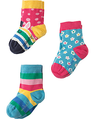 Frugi Susie Socks 3 Pack, Zebra Multipack - Elasticated cotton Socks