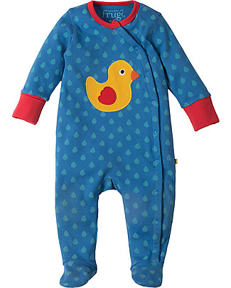 Frugi Swoop Babygrow, Sail Blue/Duck - 100% Organic Cotton Babygrows