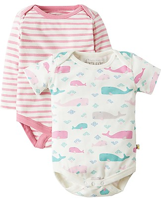 Frugi Teeny Body Long Sleeve + Short Sleeve, 2-Pack - Little Whale - 100% Organic cotton Short Sleeves Bodies