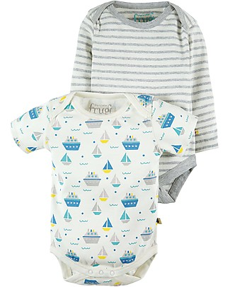 Frugi Teeny Body Long Sleeve + Short Sleeve, 2-Pack - Summer Seas - 100% Organic cotton Long Sleeves Bodies