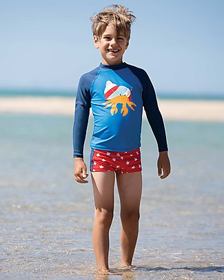Frugi Tide Pool Trunks, Scilly Stars, Red and White - UPF 50+ Swimming Trunks