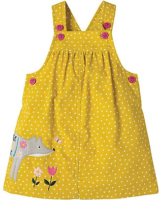 Frugi Tilly Cord Pinafore Dress, Gorse Speckle Spot/Fox - Organic Cotton Dresses