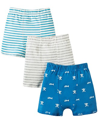 Frugi Treen Trunks, Skull and Bones - Pack of 3 -  100% Organic Jersey Cotton Briefs