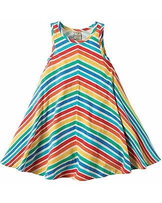 Frugi Twirly Beach Dress, Rainbow Candy Stripe - Organic Cotton Jersey Dresses