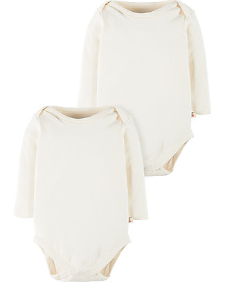 Frugi White Long Sleeved Bodysuit, 2 Pack - 100% organic cotton Long Sleeves Bodies