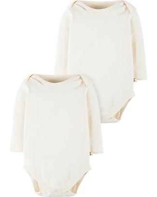 Frugi White Long Sleeved Bodysuit, 2 Pack - 100% organic cotton Long Sleeves Bodies