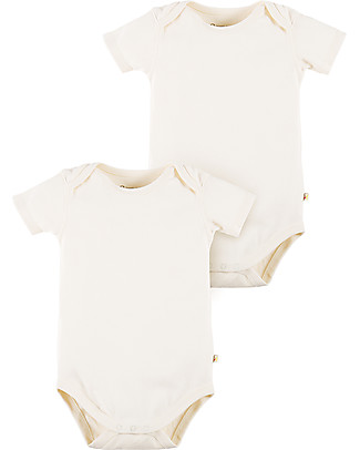 Frugi White Short Sleeved Bodysuit, 2 Pack - 100% organic cotton Short Sleeves Bodies