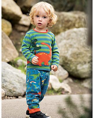 Frugi Wilf Wraparound Top, Meadow Stripe/Dino  - 100% organic cotton Long Sleeves Tops