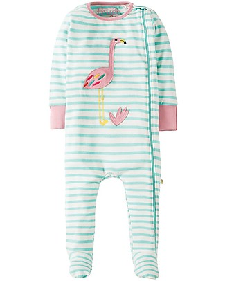 Frugi Zipped Babygrow, Seagreen/Flamingo - 100% Organic Cotton Babygrows