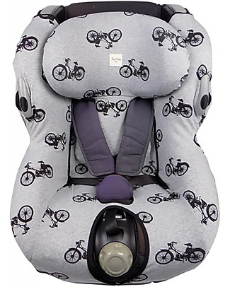 Fun*das bcn Cover for Car Seat Bébé Confort Opal, Black Bikes - Elasticated cotton Car Seat Accessories