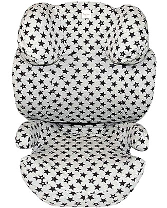 Fun*das bcn Cover for Car Seats Group 2/3 Cybex Solution Q2 fi, Fun black star - Elasticated Cotton Car Seat Accessories