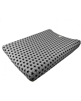 Fun*das bcn Cover for Changing Mat 80 x 50 cm, Black Star - Elasticated cotton Changing Mats And Covers