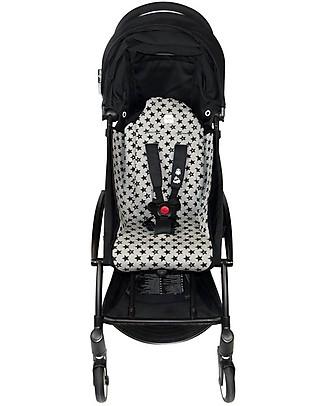 Fun*das bcn Padded Cover for Babyzen Yoyo Stroller, Fun Black Star - Elasticated cotton Stroller Accessories