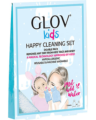 Glov Glov kids Happy Cleaning Set, Pink Edge - for Mum and Kid Face