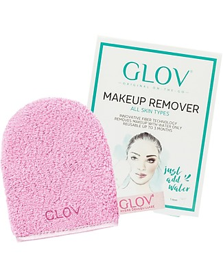Glov Glov On The Go, Microfiber Make Up Remover Cloth, Cozy Rosie (Pink) - No soaps needed! Face