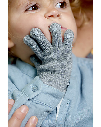 GoBabyGo Grip Gloves, Grey Melange Gloves e Mittens
