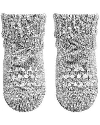 GoBabyGo Non-Slip Alpaca Wool Socks, Light Grey - Super-Soft and High Quality! Socks