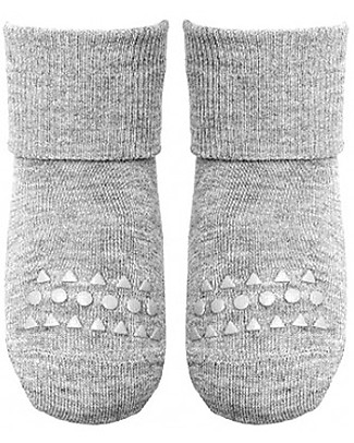 GoBabyGo Non-Slip Bamboo Socks, Light Grey - Eco-friendly and Gentle on the Skin! Socks