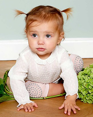 GoBabyGo Non-slip Crawling Kneepads, Glitter Pink - Cotton Socks
