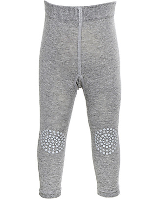 GoBabyGo Non-slip Crawling Leggings, Grey Melange - Cotton Leggings