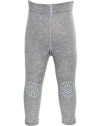 GoBabyGo Non-slip Crawling Leggings, Grey Melange - Cotton Leggings