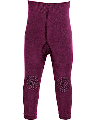 GoBabyGo Non-slip Crawling Leggings, Plum - Cotton Leggings