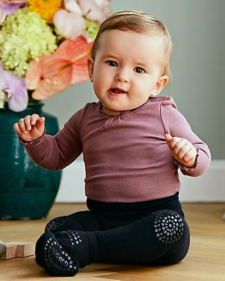 GoBabyGo Non-slip Crawling Tights, Black - Wool Tights
