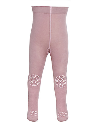 GoBabyGo Non-slip Crawling Tights, Dusty Rose - Cotton Tights