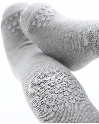 GoBabyGo Non-slip Crawling Tights, Grey Melange - Cotton Tights