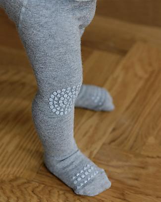 GoBabyGo Non-slip Crawling Tights, Grey Melange - Wool Tights