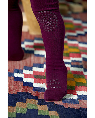 GoBabyGo Non-slip Crawling Tights, Plum - Cotton Tights