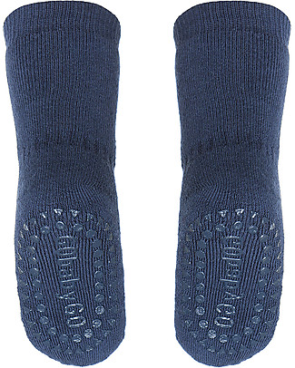 GoBabyGo Non-slip Socks, Petroleum Blue - Cotton Socks