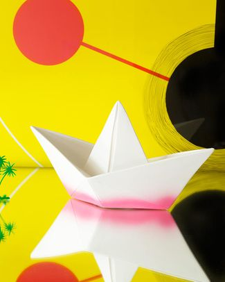 Goodnight Light Paper Boat Lamp - Magenta Dip Dye - Low Energy Consumption! Bedside Lamps