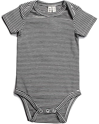 Gray Label Baby Onesie, Nearly Black/Cream Stripes - Organic Cotton Short Rompers