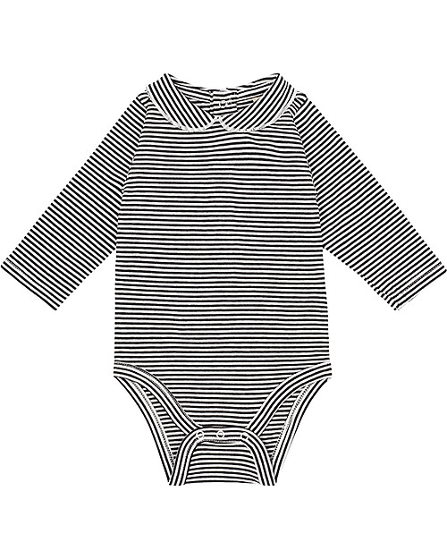 61445f0f6929 Gray Label Baby Onesie with Collar, Nearly Black/Off White Stripes -  Organic Cotton