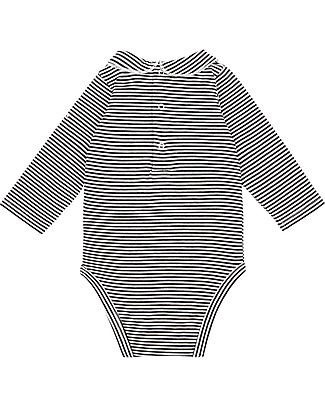 Gray Label Baby Onesie with Collar, Nearly Black/Off White Stripes - Organic Cotton Jersey Long Sleeves Bodies