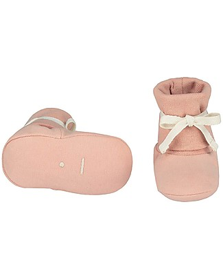 Gray Label Baby Ribbed Booties Vintage Pink - Softest Organic Cotton Slippers