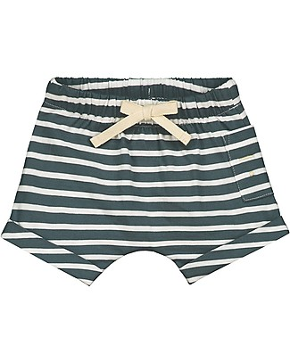 Gray Label Baby Shorts with Drawstring, Blue Grey/White Stripe - 100% organic cotton jersey Shorts
