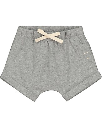 Gray Label Baby Shorts with Drawstring, Grey Melange - 100% organic cotton jersey Shorts