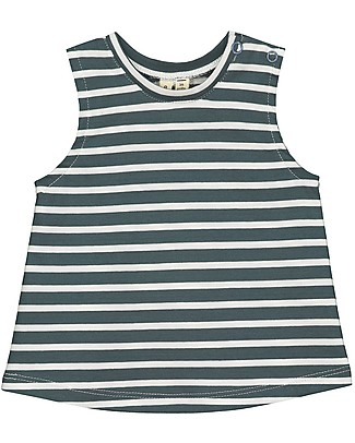 Gray Label Baby Striped Tank Top, Blue Grey - 100% organic cotton jersey T-Shirts And Vests
